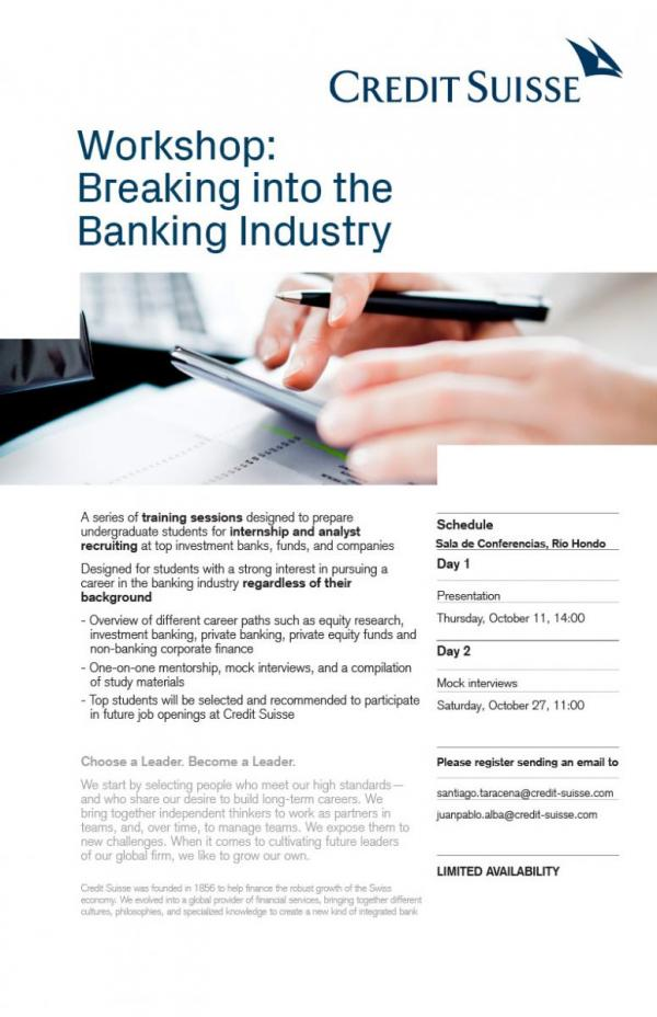 Bolsa de Trabajo invita al workshop: Breaking into the Banking Industry de Credit Suisse